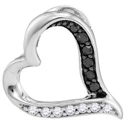 10kt White Gold Womens Round Black Colored Diamond Hear