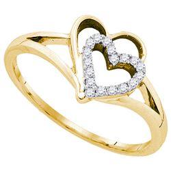 10K Yellow-gold 0.11CT DIAMOND HEART RING