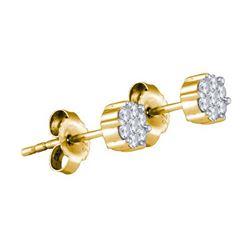 925 Sterling Silver Yellow 0.15CT DIAMOND FLOWER EARRIN