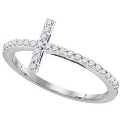 10kt White Gold Womens Round Diamond Christian Cross Sl