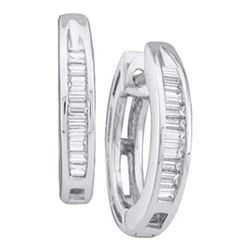 10KT White Gold 0.15CTW DIAMOND FASHION HOOPS