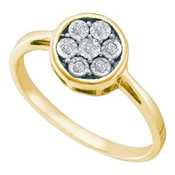 925 Sterling Silver Yellow 0.06CTW DIAMOND FLOWER RING
