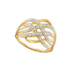 10kt Yellow Gold Womens Round Natural Diamond Woven Coc