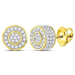 10kt Yellow Gold Womens Round Diamond 3D Circle Cluster