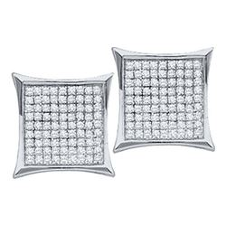 10KT White Gold 0.15CTW DIAMOND LADIES MICRO PAVE EARRI