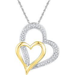10kt White Gold Womens Round Diamond Two-tone Double He