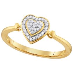 10kt Yellow Gold Womens Round Diamond Heart Love Cluste