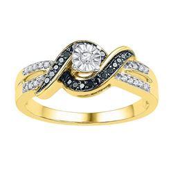 10K Yellow-gold 0.20CTW BLACK DIAMOND FASHION RING