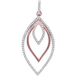 10kt Rose Gold Womens Round Diamond Triple Nested Oval