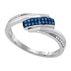 925 Sterling Silver White 0.12CTW-BLUE DIAMOND FASHION
