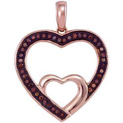 10KT Rose Gold 0.12CTW DIAMOND HEART PENDANT