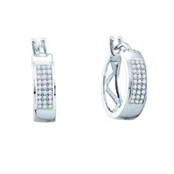 10KT White Gold 0.16CTW DIAMOND MICRO PAVE HOOPS