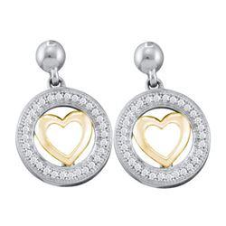 10KT White Gold 0.18CTW DIAMOND HEART EARRINGS
