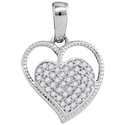 10KT White Gold 0.10CTW DIAMOND MICRO-PAVE HEART PENDAN