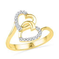 10K Yellow-gold 0.08CTW DIAMOND HEART RING
