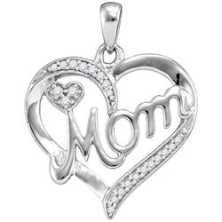 925 Sterling Silver White 0.13CT DIAMOND MOM PENDANT