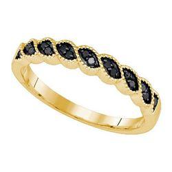 10K Yellow-gold 0.19CTW BLACK DIAMOND FASHION RING