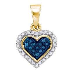 10K Yellow-gold 0.13CTW BLUE DIAMOND MICRO-PAVE PENDANT