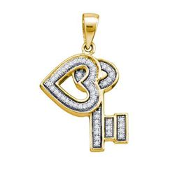 925 Sterling Silver Yellow 0.14CT DIAMOND KEY PENDANT