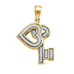 925 Sterling Silver Yellow 0.14CT DIAMOND KEY PENDANT