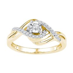 10kt Yellow Gold Womens Round Diamond Solitaire Bridal