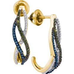 10K Yellow-gold 0.25CTW DIAMOND FASHION EARRINGS
