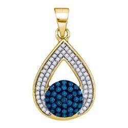 10K Yellow-gold 0.33CTW BLUE DIAMOND MICRO-PAVE PENDANT