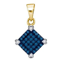 14K Yellow-gold 0.15CTW BLUE DIAMOND MICRO-PAVE PENDANT