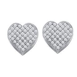 10KT White Gold 0.25CTW DIAMOND HEART EARRINGS