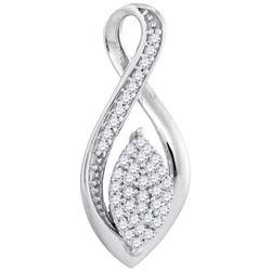 10KT White Gold 0.10CTW-Diamond MICRO-PAVE PENDANT