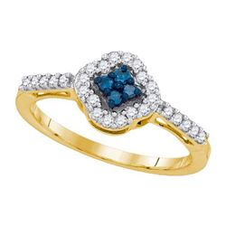 10K Yellow-gold 0.30CTW BLUE DIAMOND FASHION RING