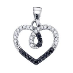 925 Sterling Silver White 0.23CTW DIAMOND HEART PENDANT