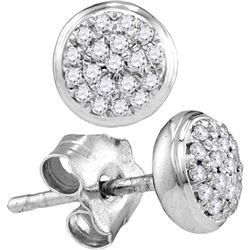 10kt White Gold Womens Round Diamond Concentric Cluster