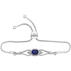 Sterling Silver Womens Oval Lab-Created Blue Sapphire D