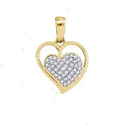 10K Yellow-gold 0.10CTW DIAMOND MICRO-PAVE HEART PENDAN