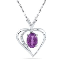10kt White Gold Womens Oval Lab-Created Amethyst Heart