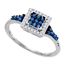 925 Sterling Silver White 0.30CTW-BLUE DIAMOND RING