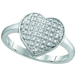 10kt White Gold Womens Round Diamond Heart Cluster Ring