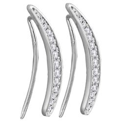Sterling Silver Womens Round Pave-set Diamond Climber E