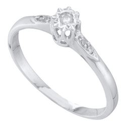 10KT White Gold 0.06CTW DIAMOND ROUND CENTER BRIDAL RIN