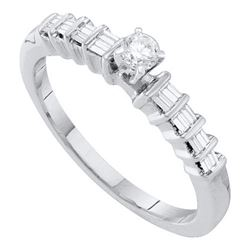 10KT White Gold 0.25CTW DIAMOND ROUND CENTER BRIDAL RIN
