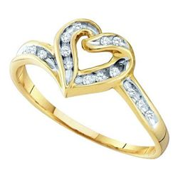 10KT Yellow Gold 0.08CTW DIAMOND LADIES HEART RING