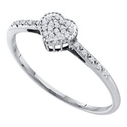 10KT White Gold 0.07CTW DIAMOND FASHION HEART RING