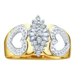 14KT Yellow Gold 0.15CTW ROUND BAGGUETTE DIAMOND LADIES