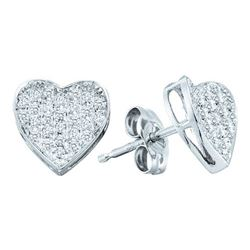 10KT White Gold 0.10CTW DIAMOND MICRO PAVE HEART EARRIN