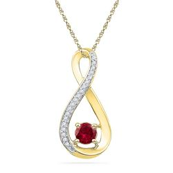 Womens 10K Yellow Gold Enhanced Red Diamond Infinity Kn