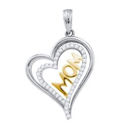 10KT White Gold Two Tone 0.21CT DIAMOND HEART PENDANT