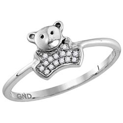 10kt White Gold Womens Round Natural Diamond Teddy Bear