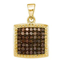 10K Yellow-gold 0.50CTW COGNAC DIAMOND MICRO-PAVE PENDA