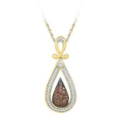10K Yellow-gold 0.25CTW COGNAC DIAMOND FASHION PENDANT